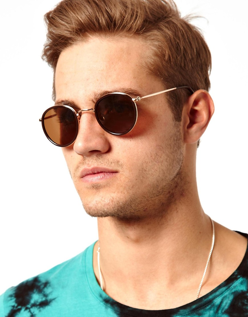 Circle Sunglasses Mens  monday round sunglasses in brown for men lyst