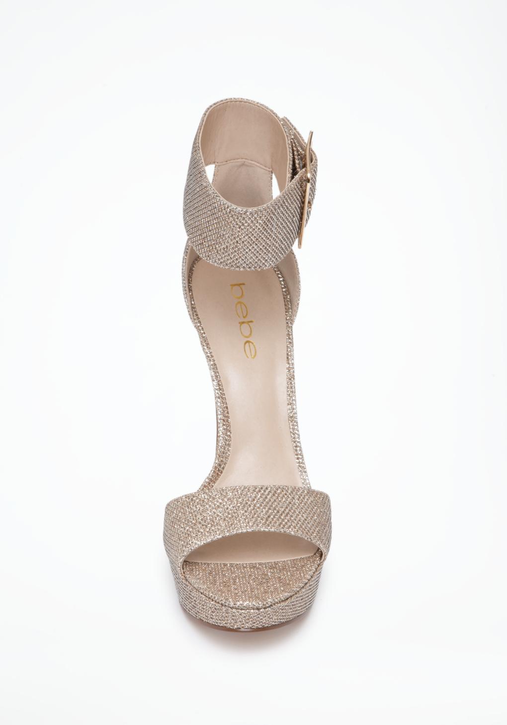 87e0189596a Bebe Jill Glitter Mesh Ankle Sandals in Natural - Lyst