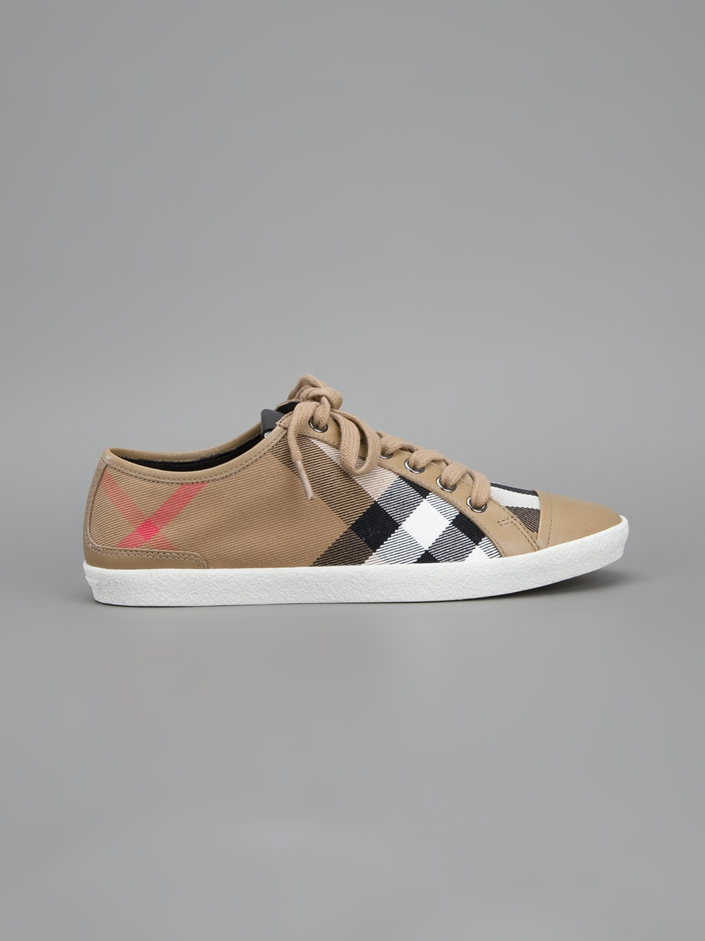 Lyst Burberry Nova Checked Sneakers In Brown