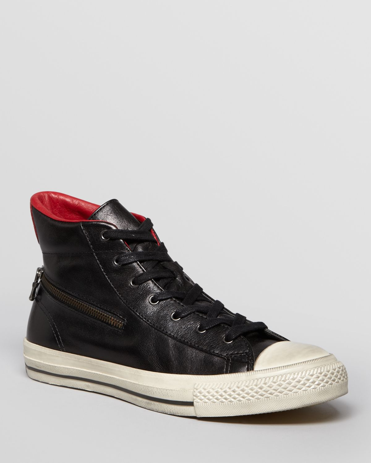 aadc7f4924d8 Lyst - Converse Chuck Taylor All Star Zip Leather High Tops in Black ...