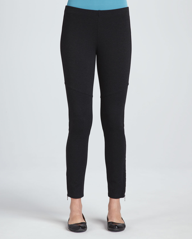 3f3455117a34f Eileen Fisher Ponte Skinny Ankle Zip Pants in Black - Lyst