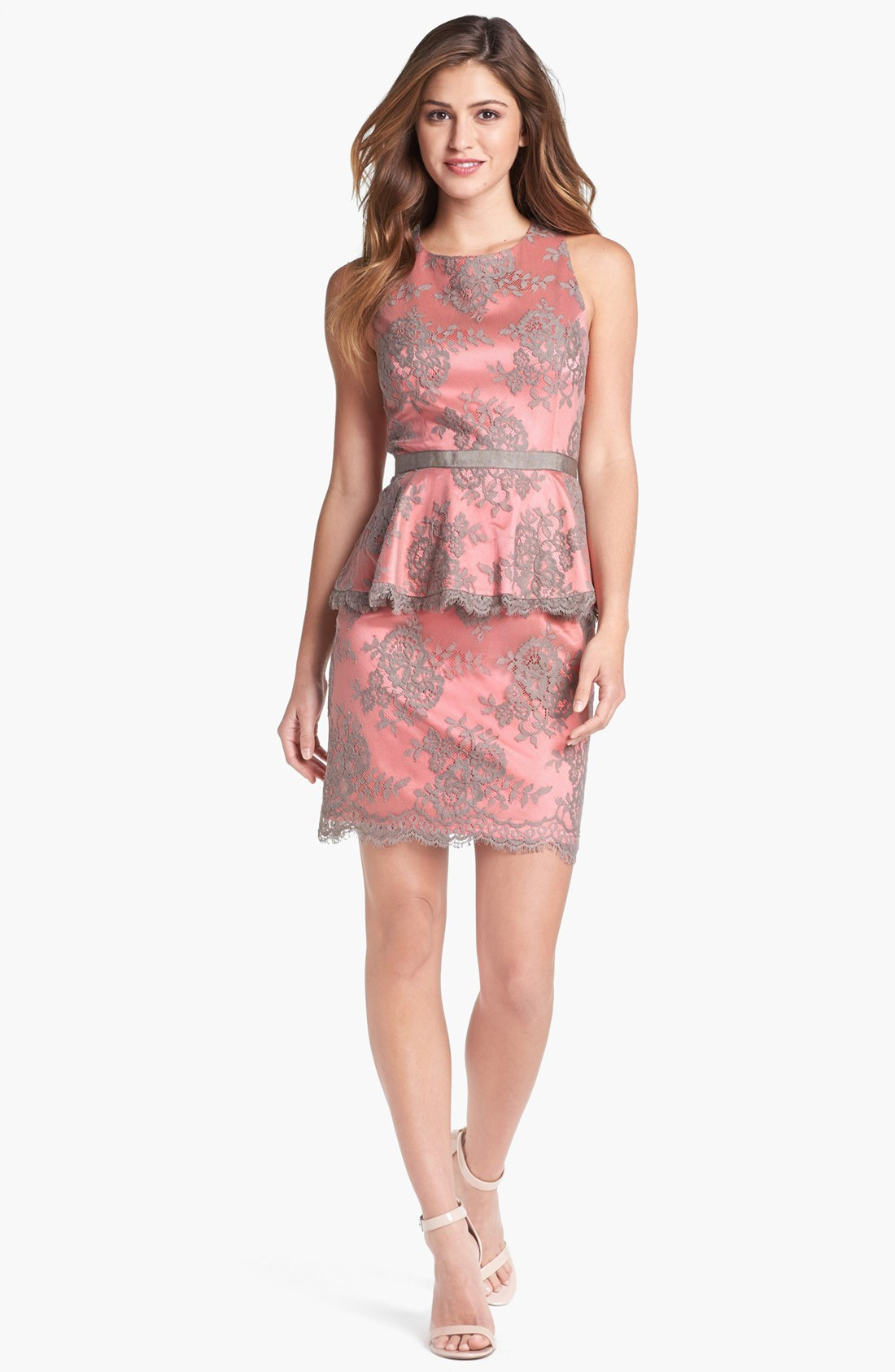 Eliza j lace peplum dress in pink taupe coral lyst for Peplum dresses for wedding guest