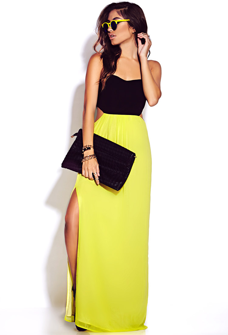 c733675dd46b Lyst - Forever 21 Neon Pop Maxi Dress in Yellow