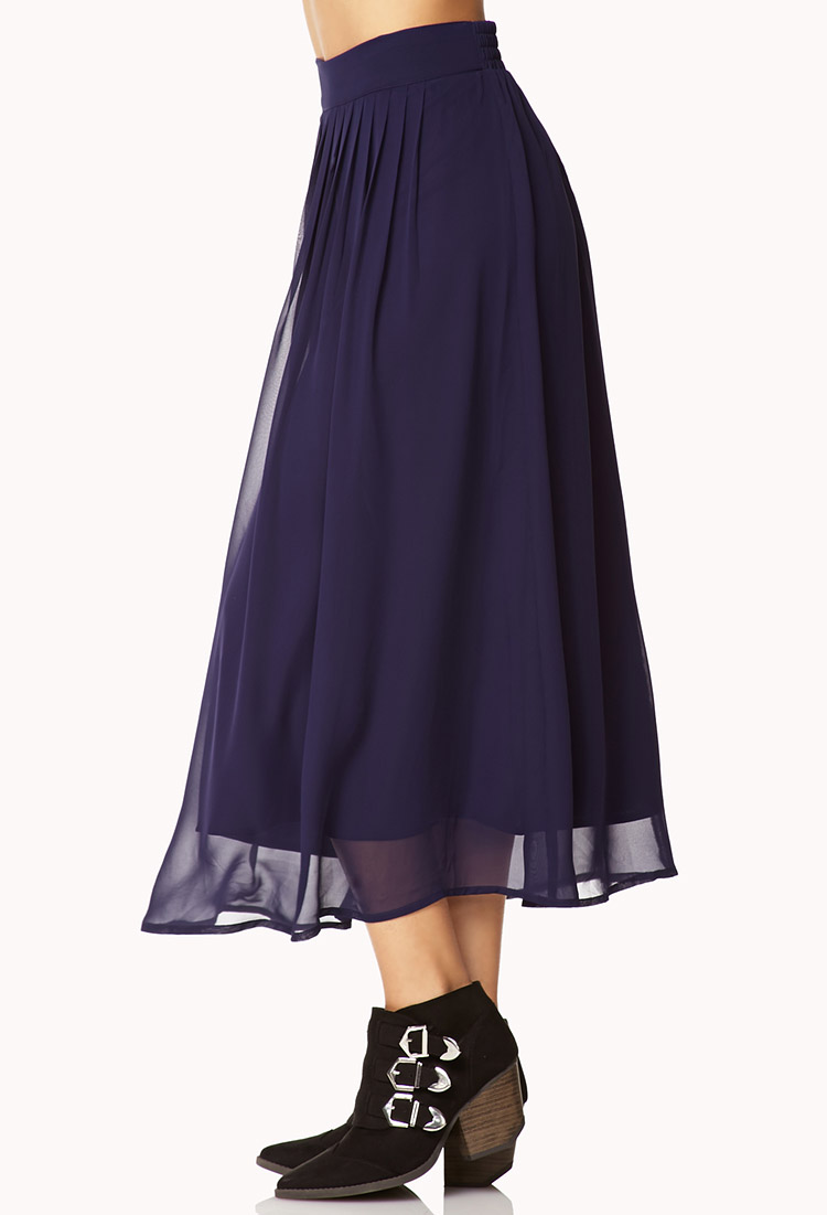forever 21 chiffon midi skirt in blue lyst