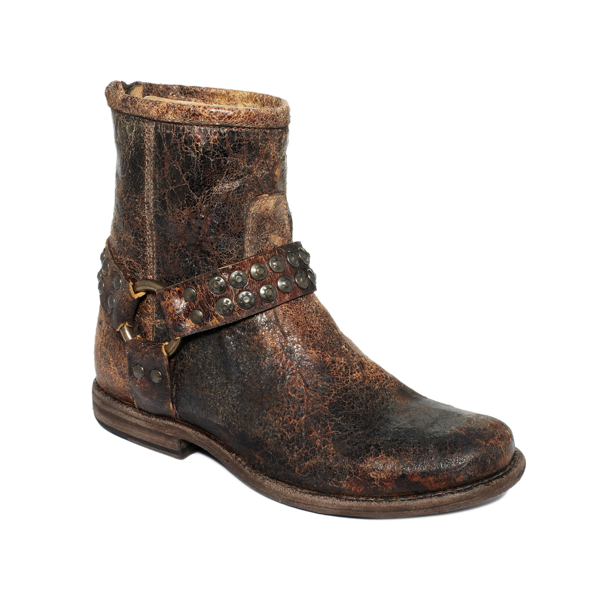 Frye Phillip Booties in Brown (chocolate glazed vintage leather