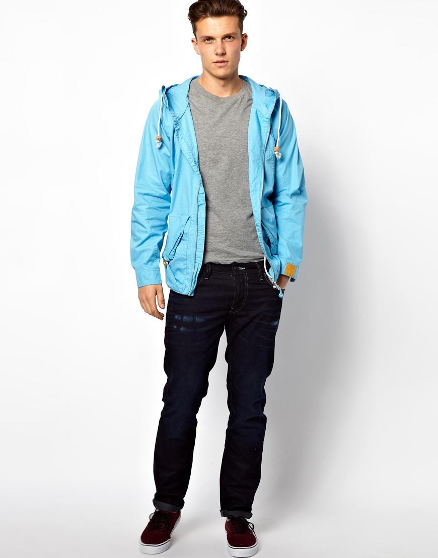 asos g star marc newson jacket hooded parka in blue for. Black Bedroom Furniture Sets. Home Design Ideas