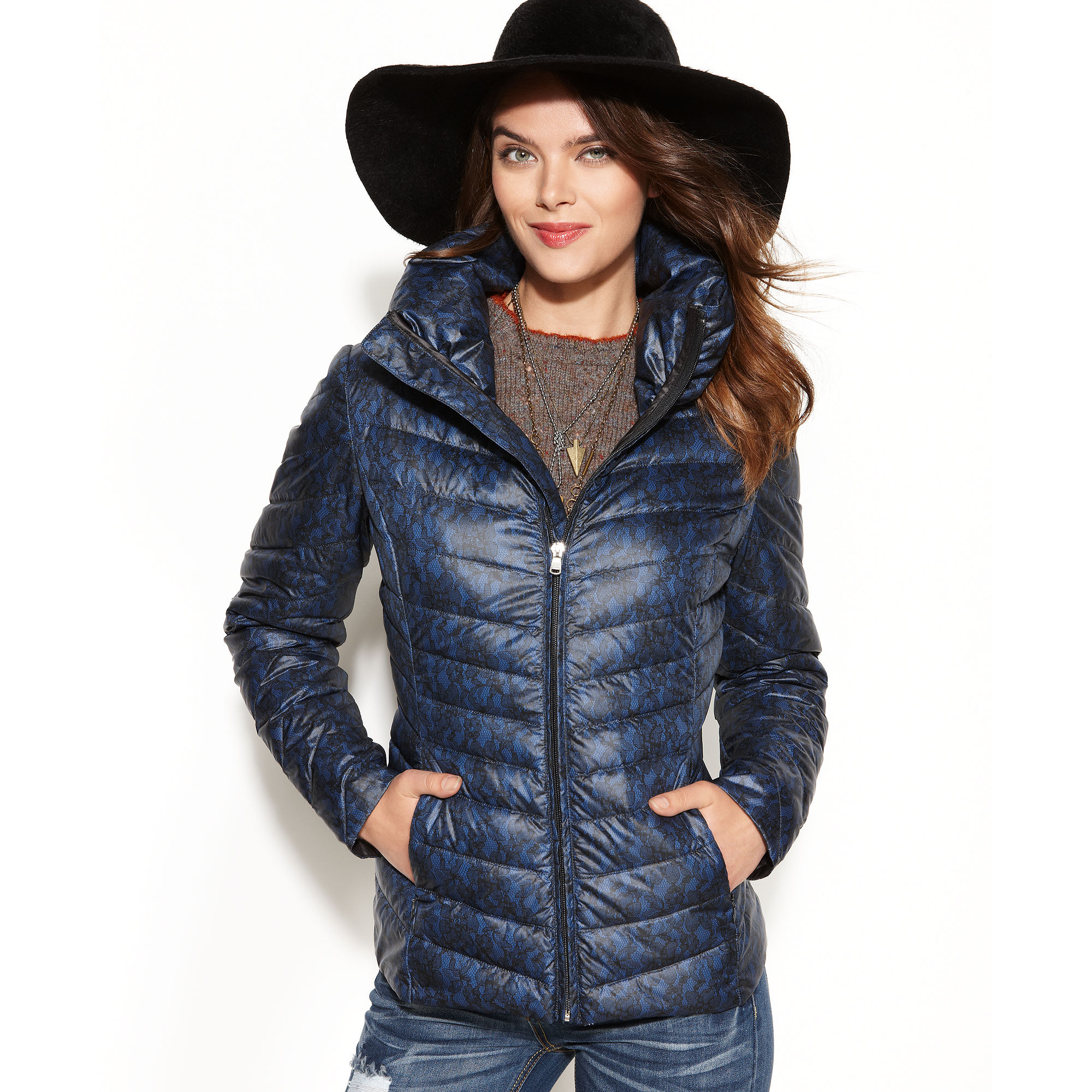 Jessica Simpson Laceprint Quilted Down Packable Puffer In