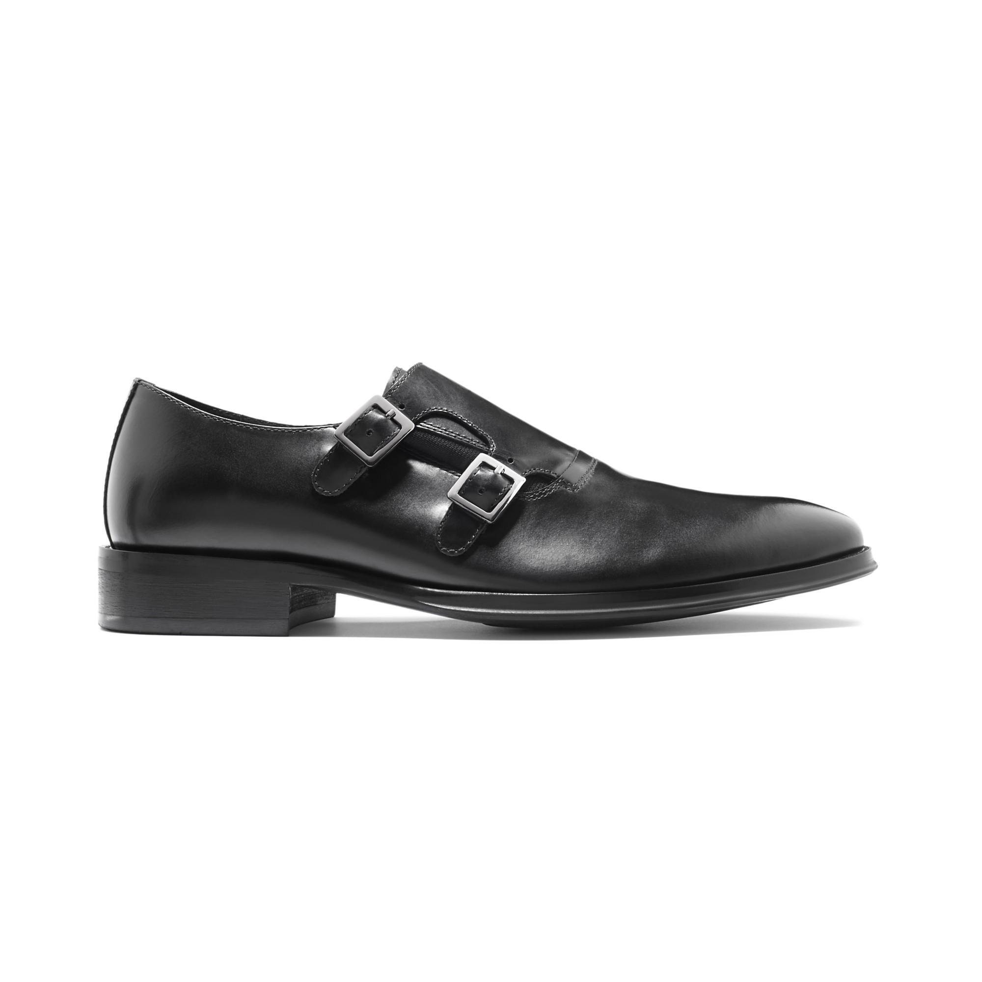 Black Double Monk Strap Shoes Cole Haan