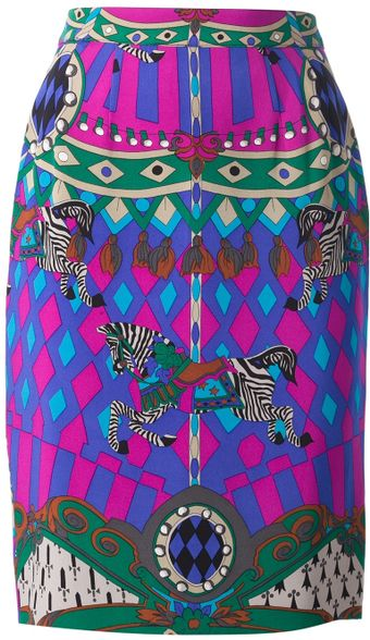 Louis Feraud Vintage Printed Silk Pencil Skirt - Lyst