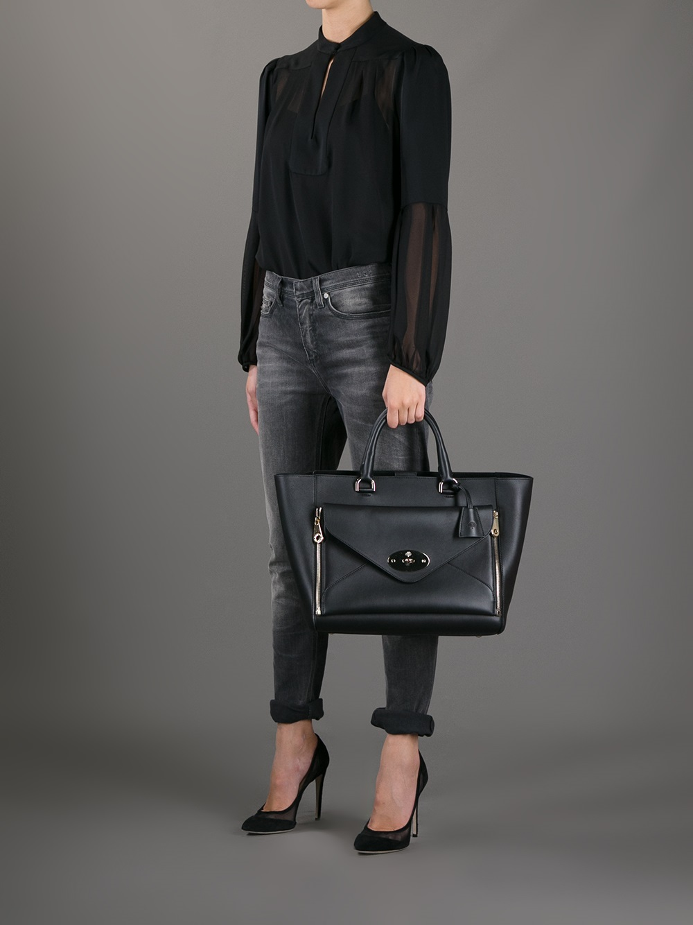 17f2d4d737 Lyst - Mulberry Willow Tote in Black