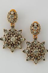 Oscar de la Renta Black Crystal Starburst Clip Earrings - Lyst