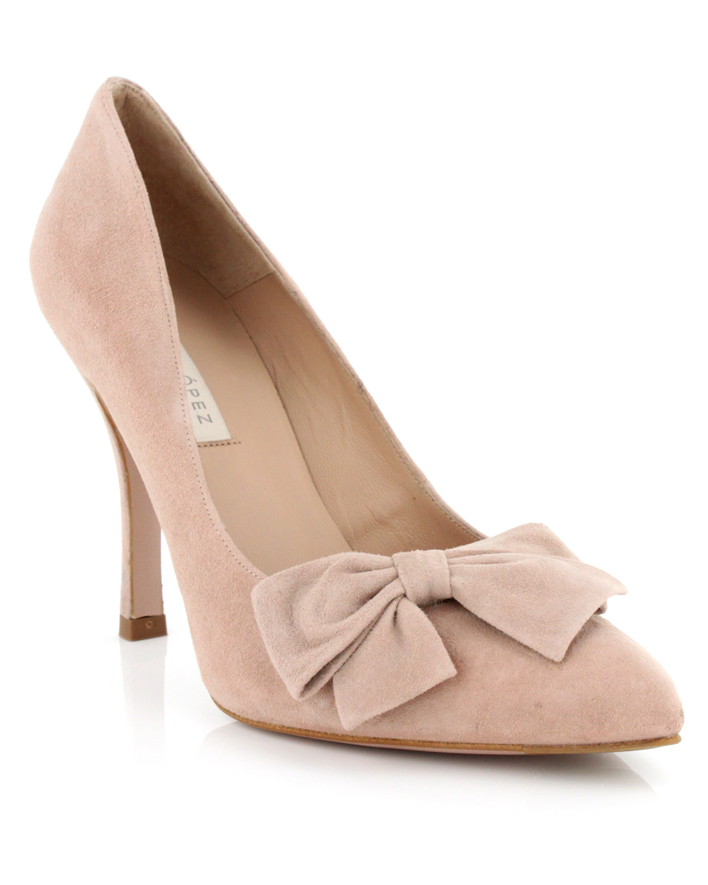 c8fbdbed31bb Lyst - Pura López Nude Suede Bow Pump in Natural