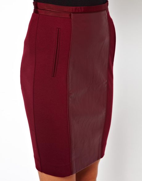 ted baker pencil skirt with faux leather panel in purple