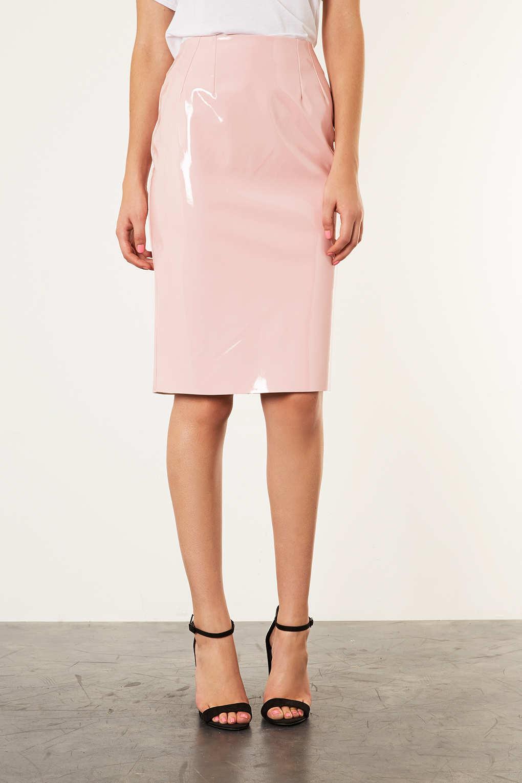 157d2400b9 TOPSHOP Pale Pink Vinyl Pencil Skirt in Pink - Lyst