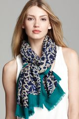 Tory Burch Abstract Leopard Scarf - Lyst