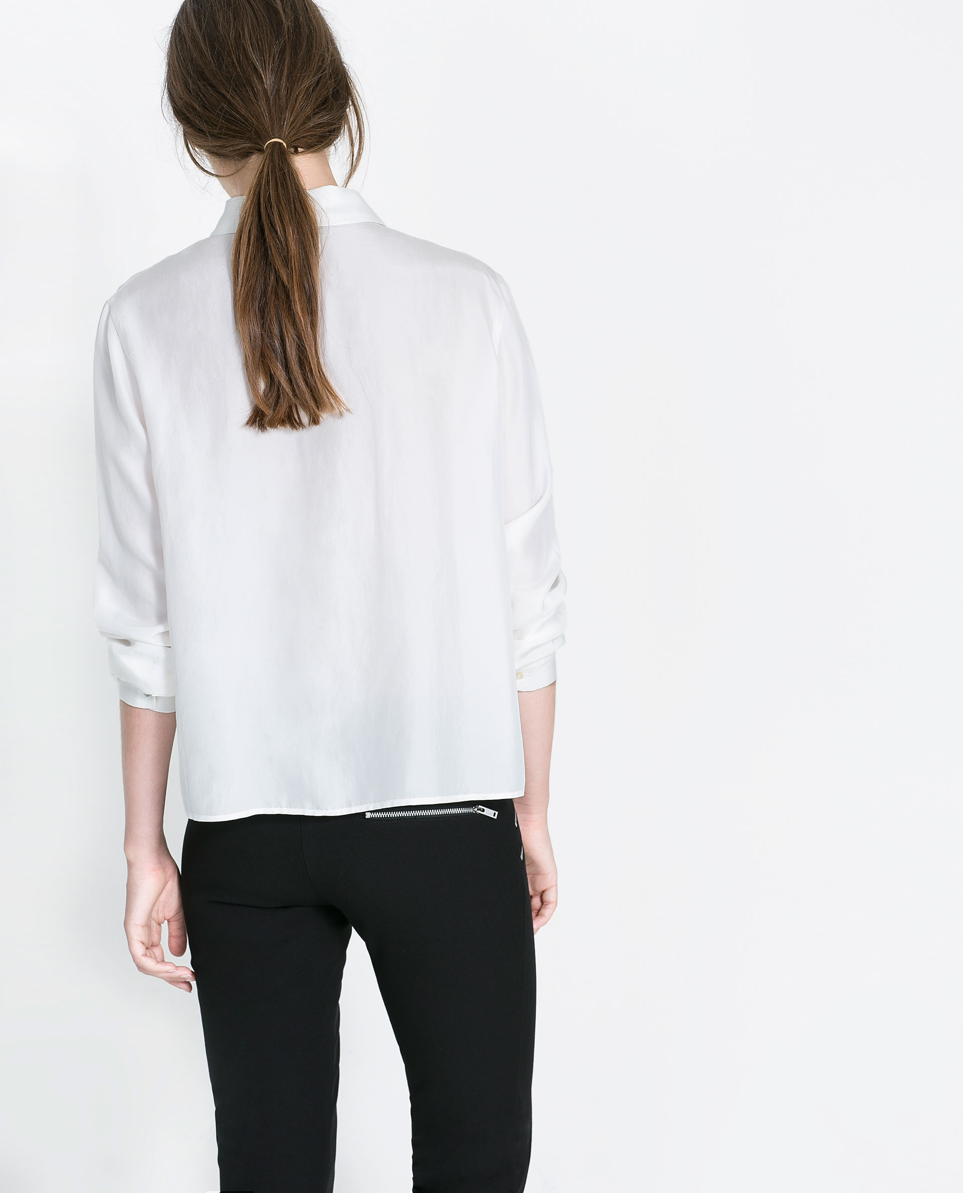Zara White Silk Blouse 79