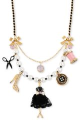 Betsey Johnson Antique Goldtone Black Dress Form Multicharm Frontal Necklace - Lyst