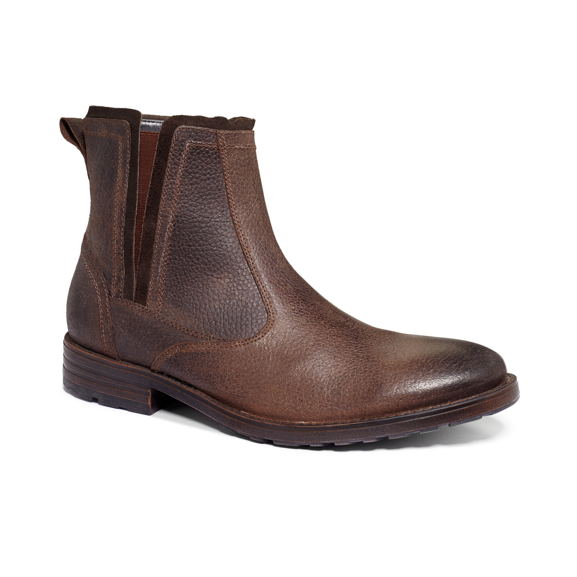 clarks denton clas slipon boots in brown for lyst