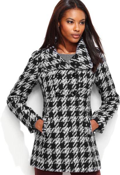 Guess Petite Coat Texturedhoundstooth Pea Coat In Black