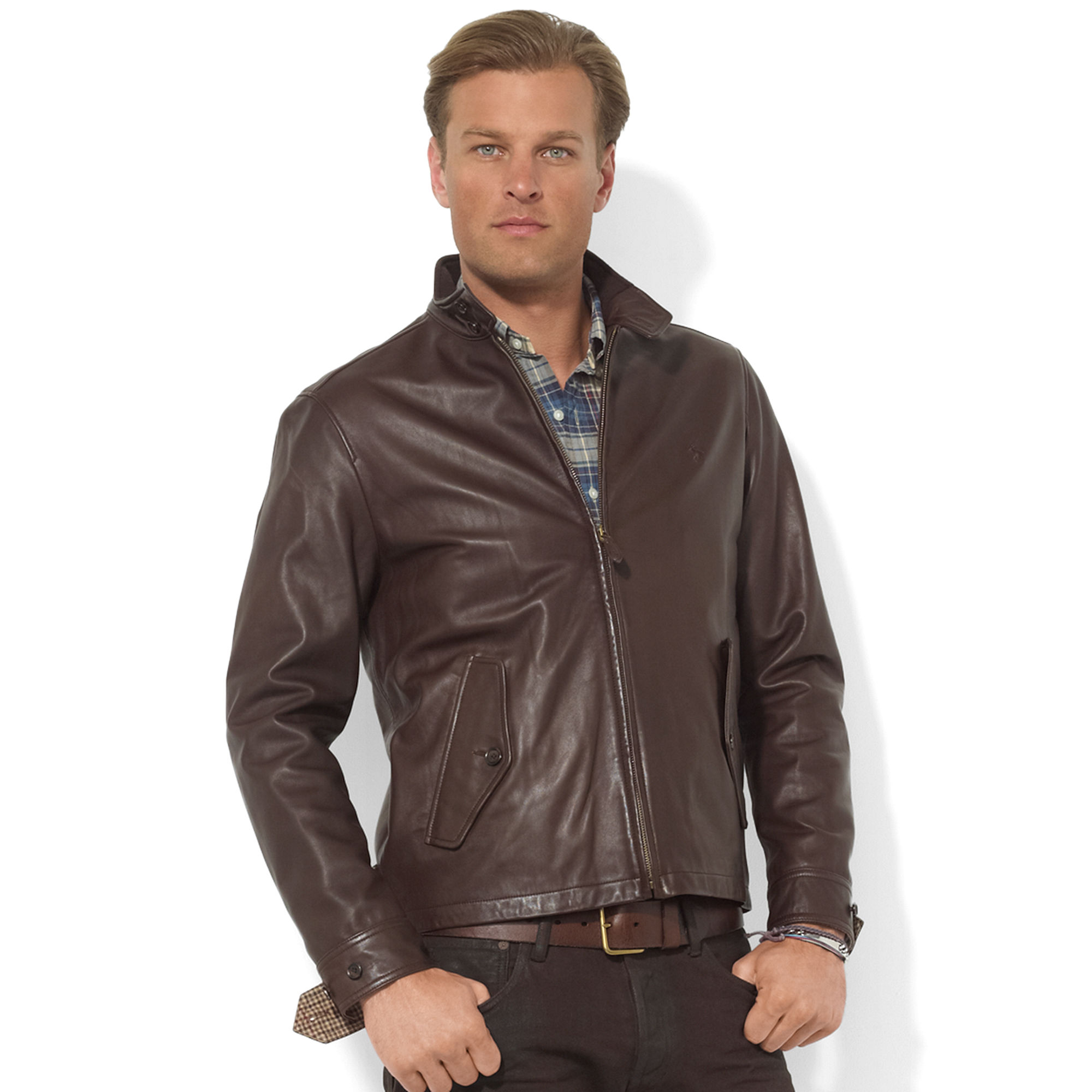 lyst ralph lauren leather barracuda jacket in brown for men. Black Bedroom Furniture Sets. Home Design Ideas