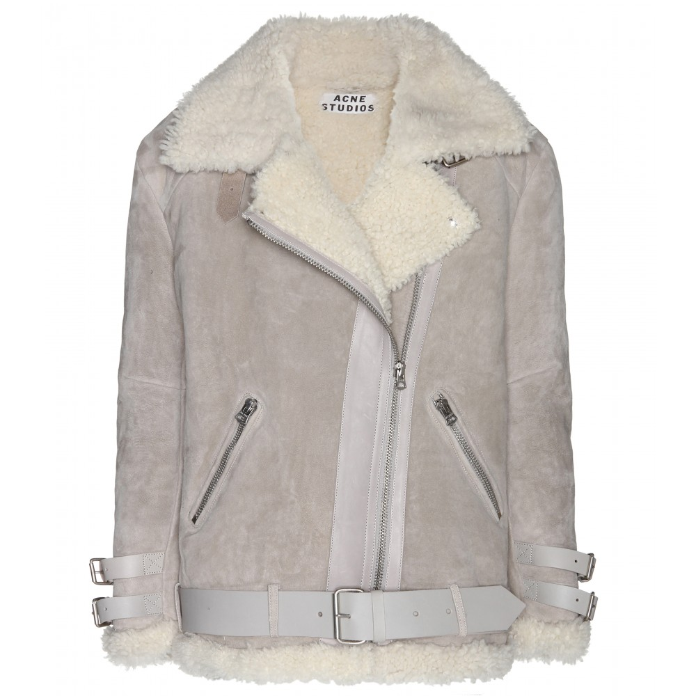 Acne studios Velocite Shearling Jacket in Gray | Lyst