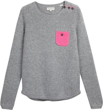 Chinti And Parker One Pocket Sweater Grey and Flouro Pink - Lyst