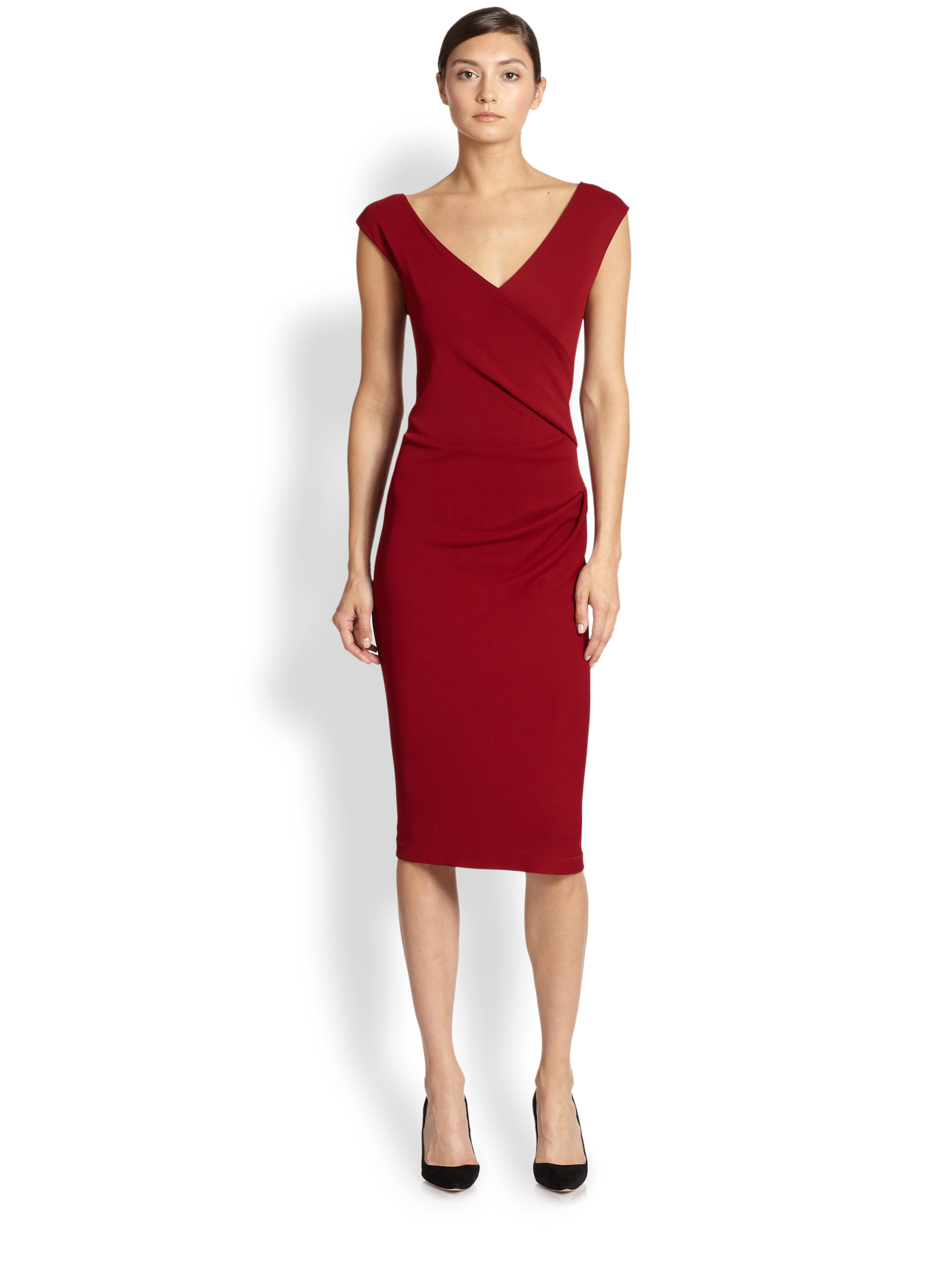 Donna karan new york capsleeve draped jersey dress in red for Donna karen new york