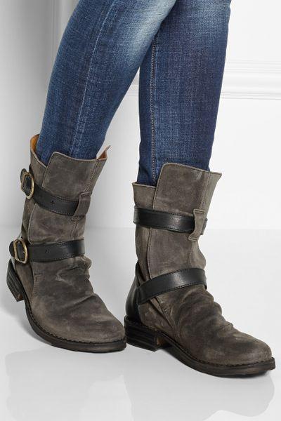 fiorentini baker eternity suede biker boots in gray lyst. Black Bedroom Furniture Sets. Home Design Ideas