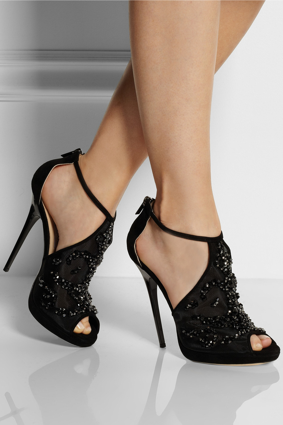 Jimmy Choo Embellished Mesh And Suede Sandals In Black Lyst