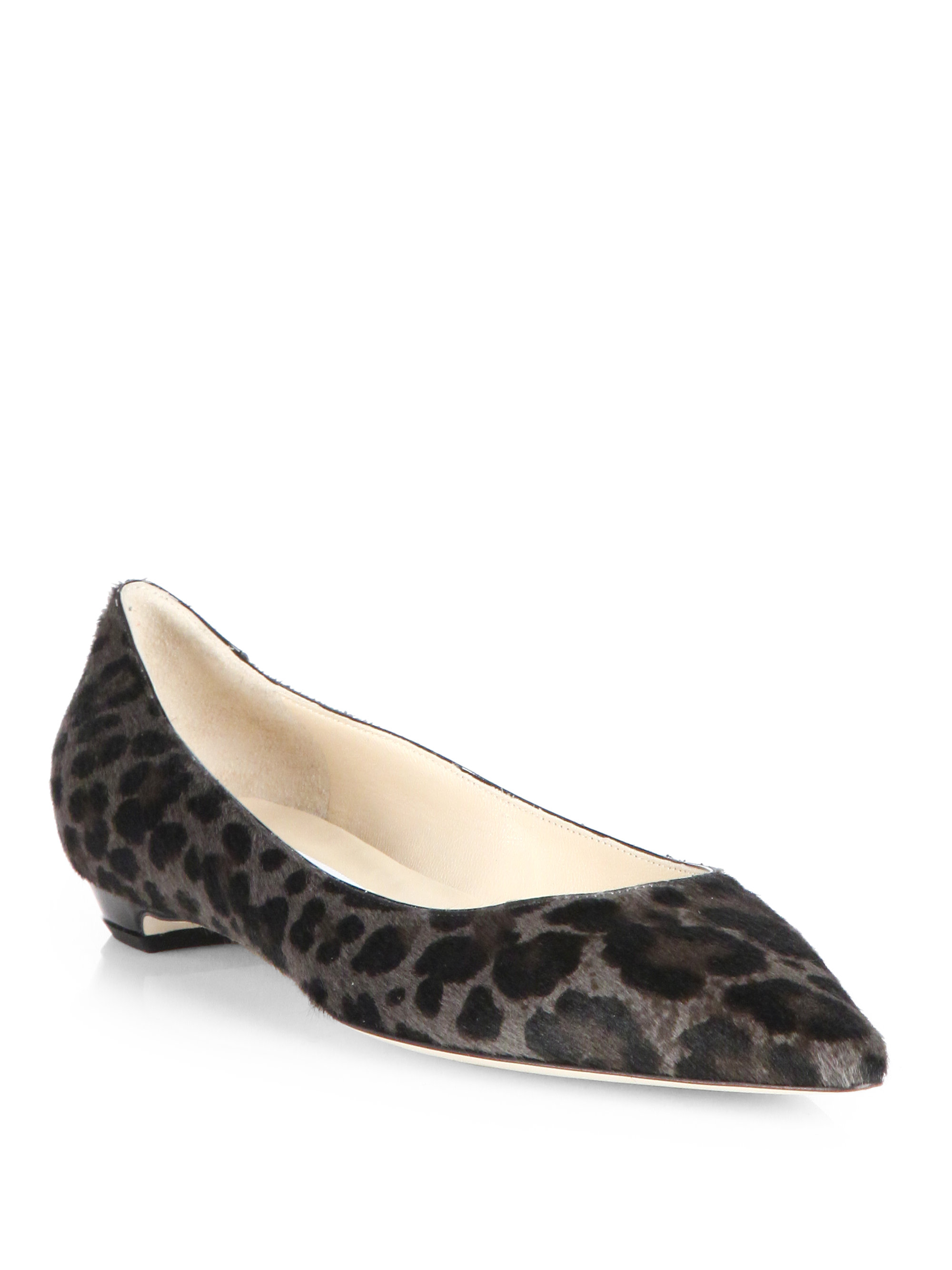 8fb2377dce0 ... buy lyst jimmy choo sandy leopard print pony hair flats in black 307c6  4bf78 ...