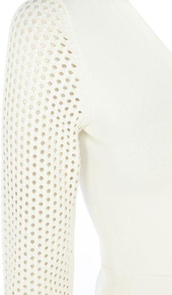 Knit Mesh Stitch Knitting : Karen Millen Mesh Open Stitch Knit Jumper in White (Ivory) Lyst