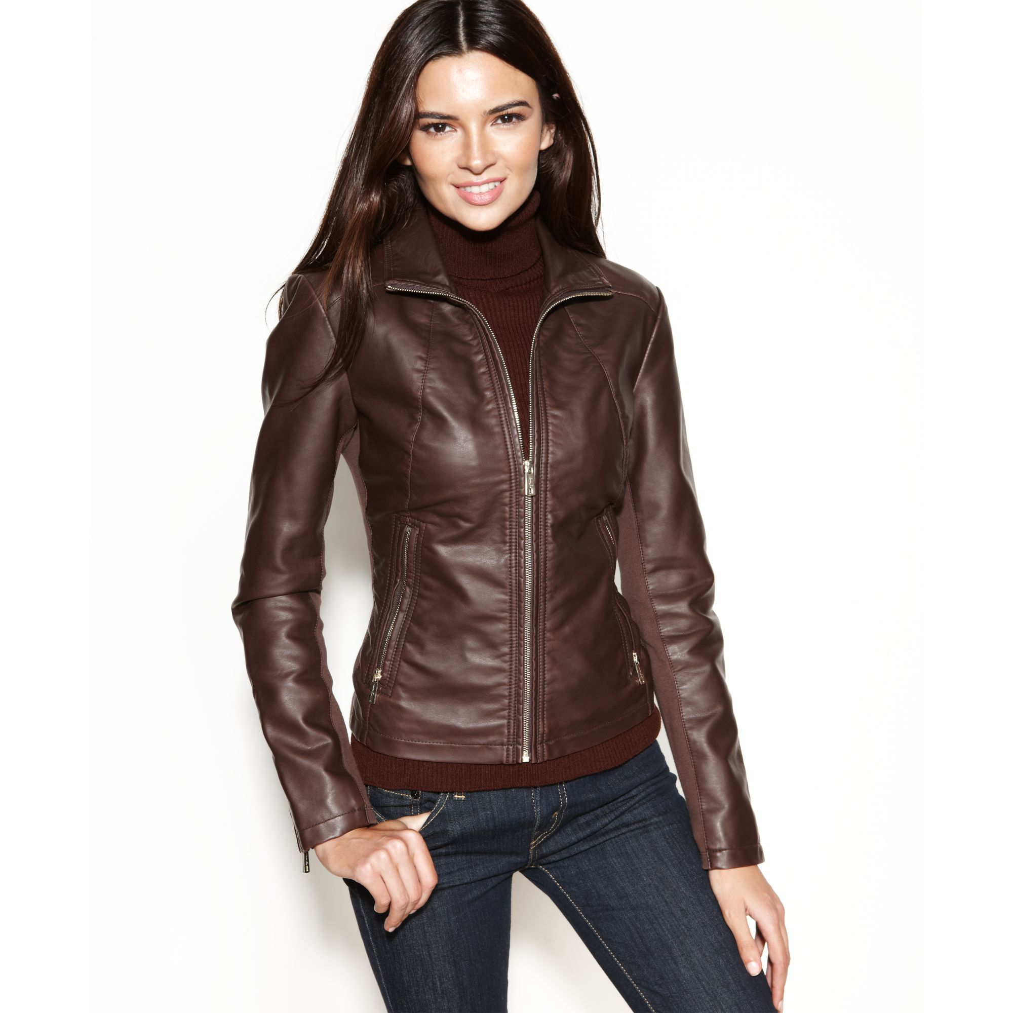 Kenneth cole reaction Faux-leather Zippered-cuff Jacket in Brown ...