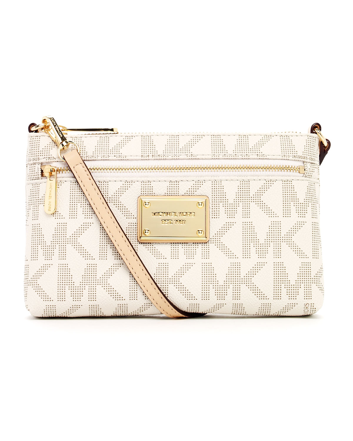 559204c210ac Lyst - Michael Kors Jet Set Large Monogram Wristlet in Natural