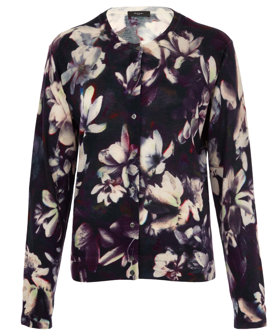 Paul smith black label Navy Magnolia Print Wool Blend Cardigan in ...