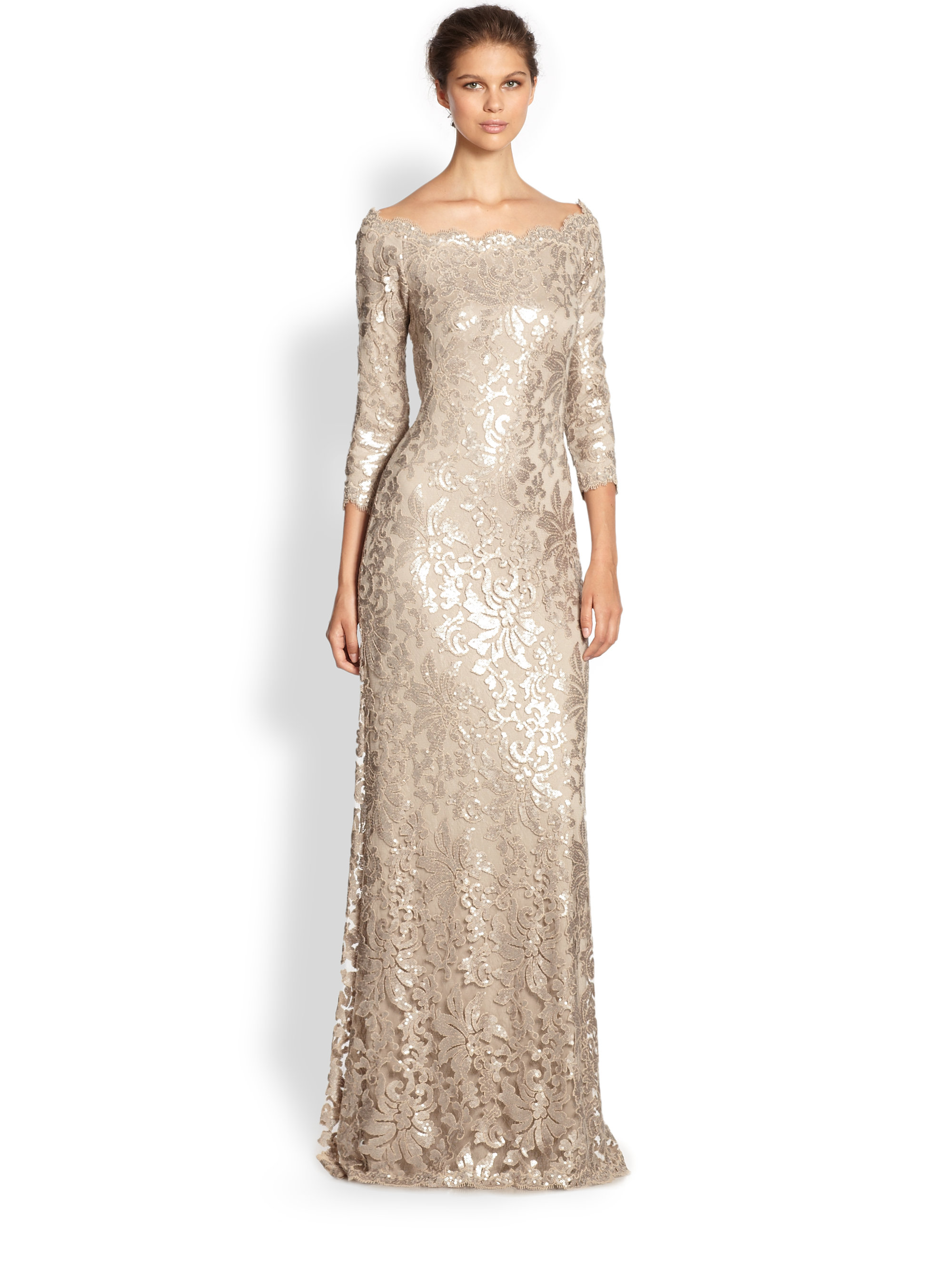 Lyst Tadashi Shoji Sequined Lace Boatneck Gown In Metallic