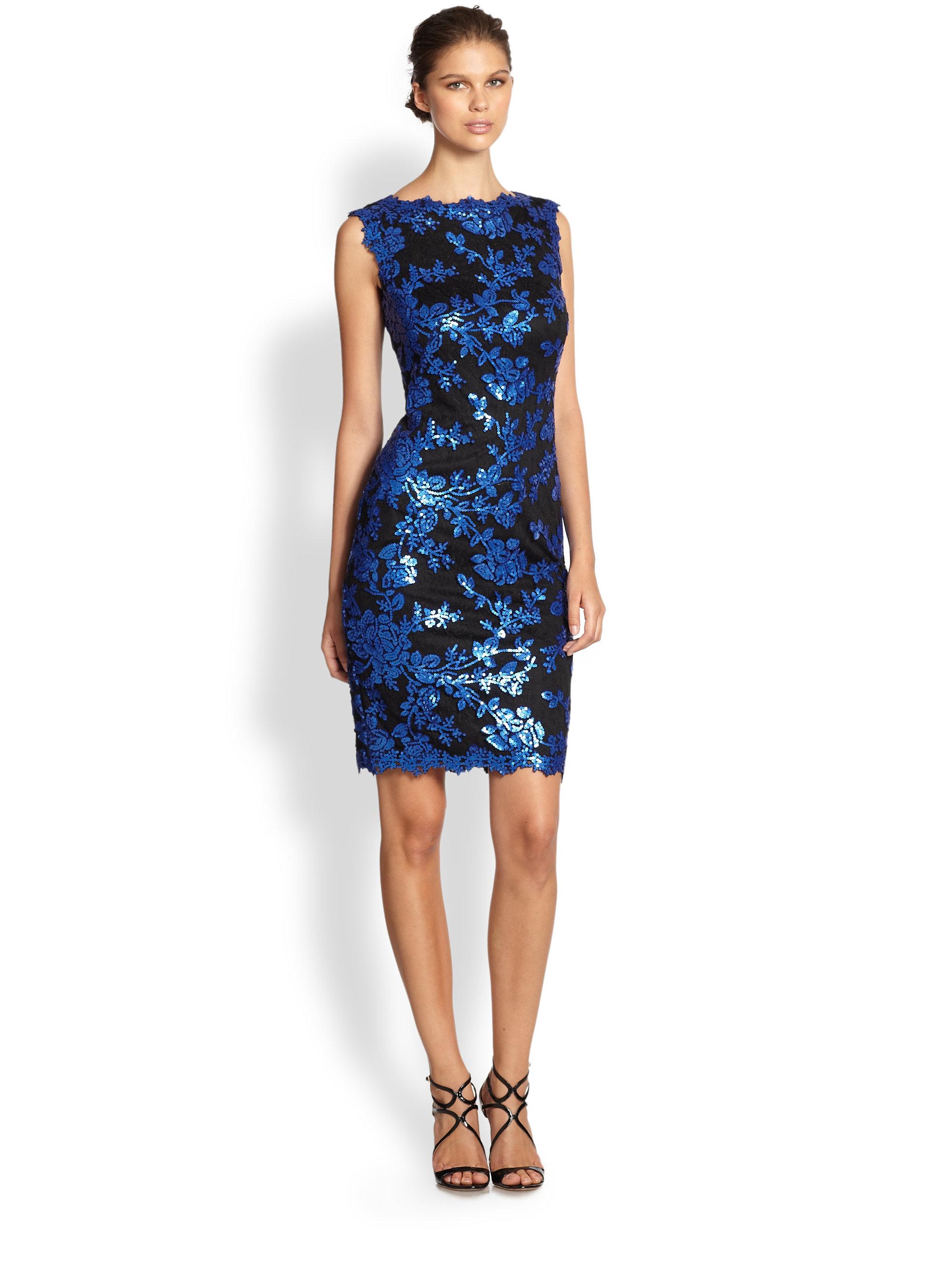 Tadashi shoji Sleeveless Sequin Dress in Blue - Lyst
