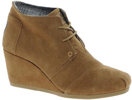 toms suede wedge ankle boots in brown lyst