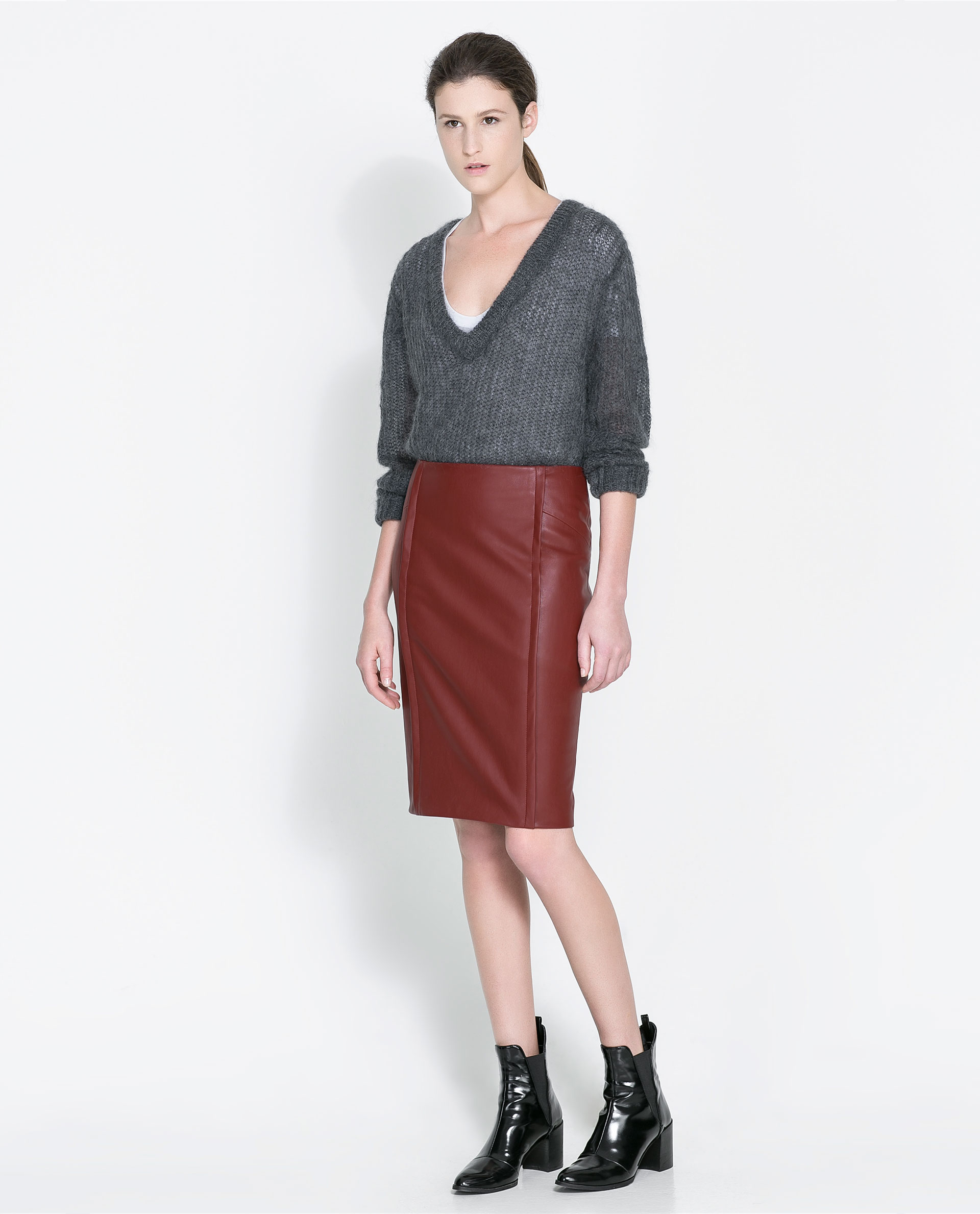 Zara Faux Leather Skirt in Red | Lyst