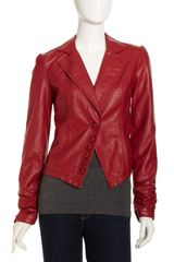 Bagatelle Faux Leather Blazer Red - Lyst