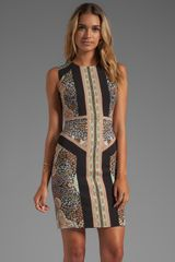 BCBGMAXAZRIA Lauren Sleeveless Printed Dress in Black - Lyst