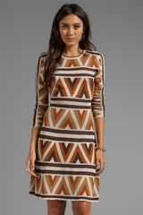 BCBGMAXAZRIA Long Sleeve Printed Dress in Brown - Lyst