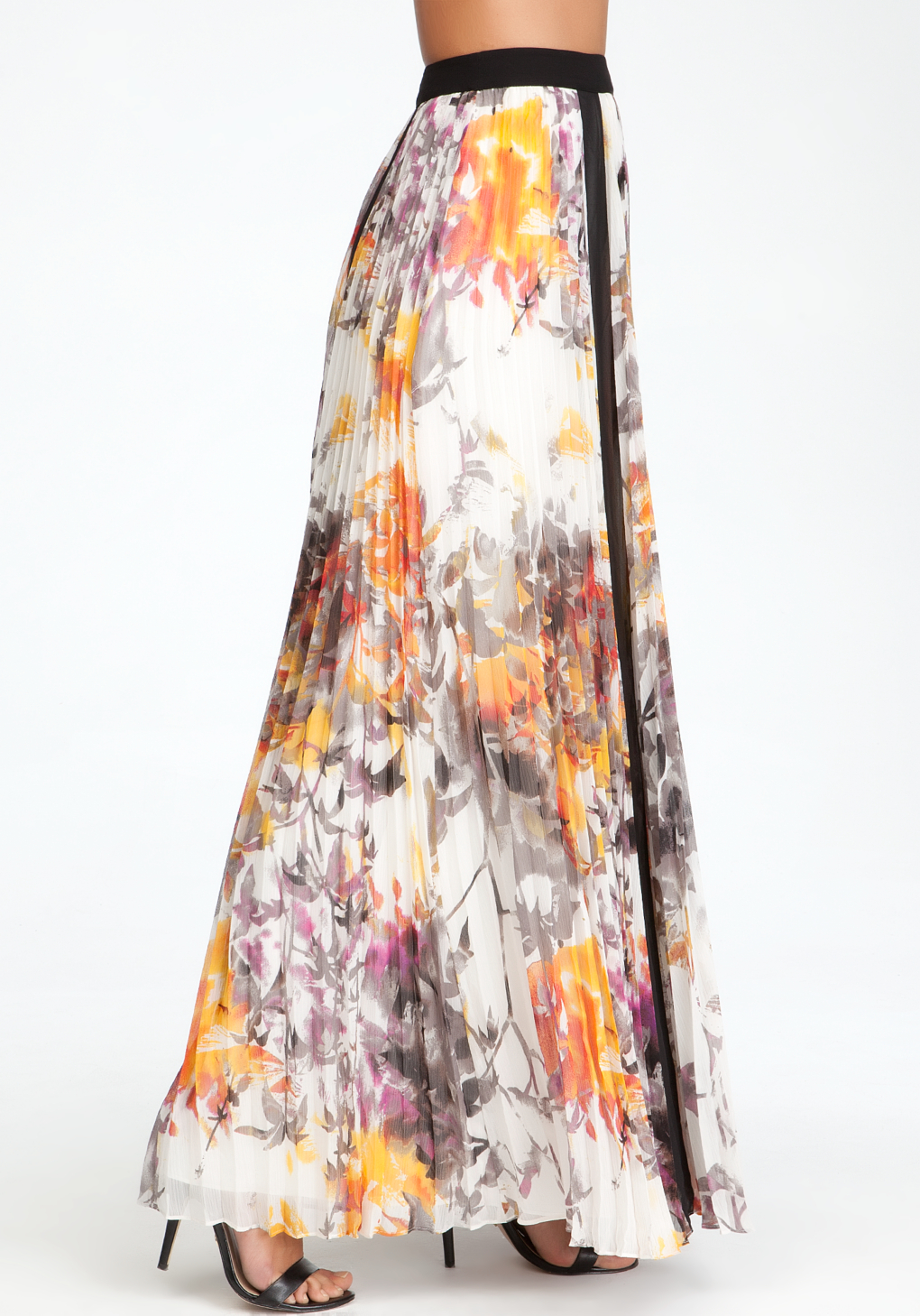 bebe pleated floral maxi skirt lyst