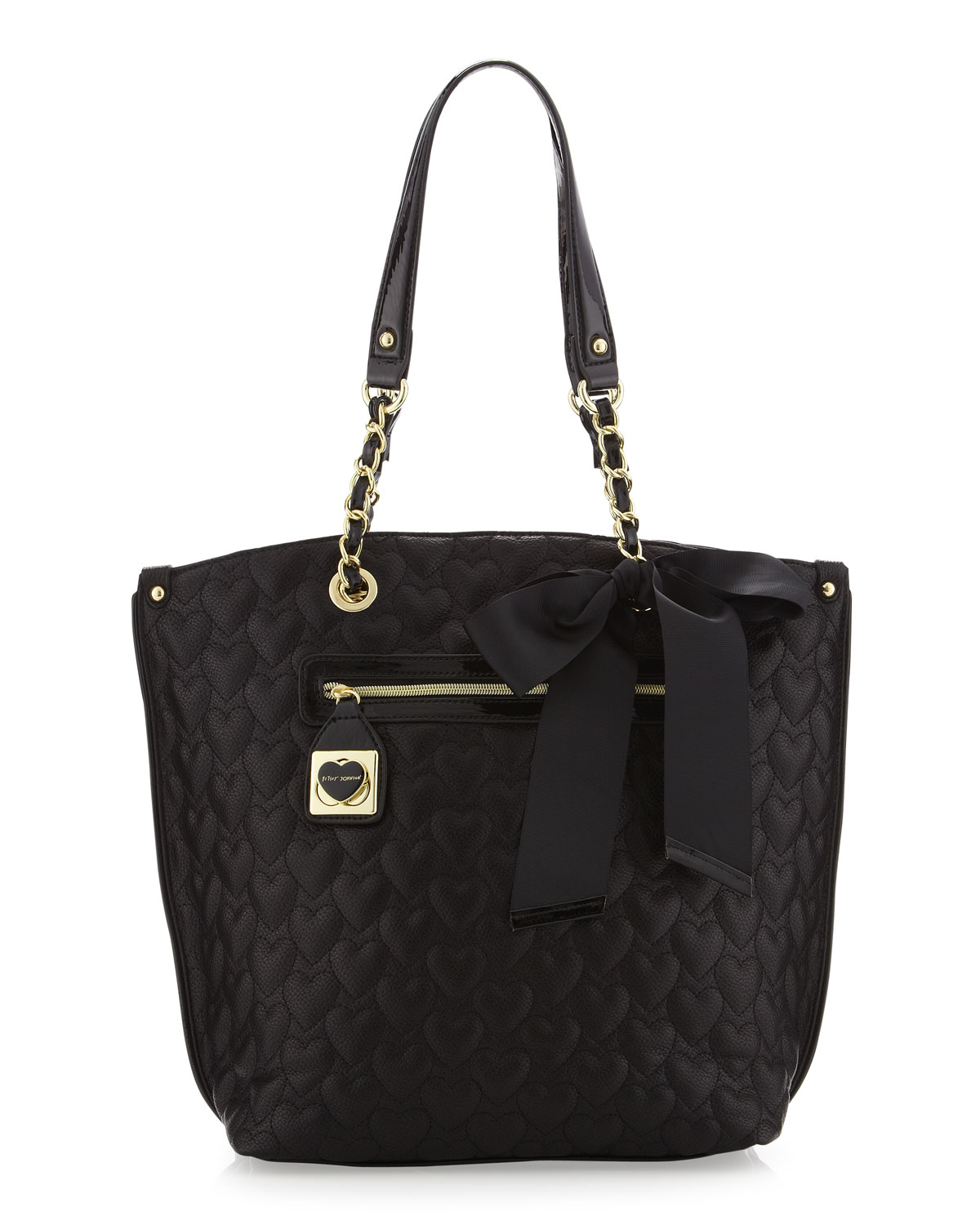 Lyst Betsey Johnson Puff Heart Tote Bag In Black