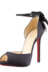Christian Louboutin Dos Noeud Satin Backbow Dorsay Red Sole Pump - Lyst