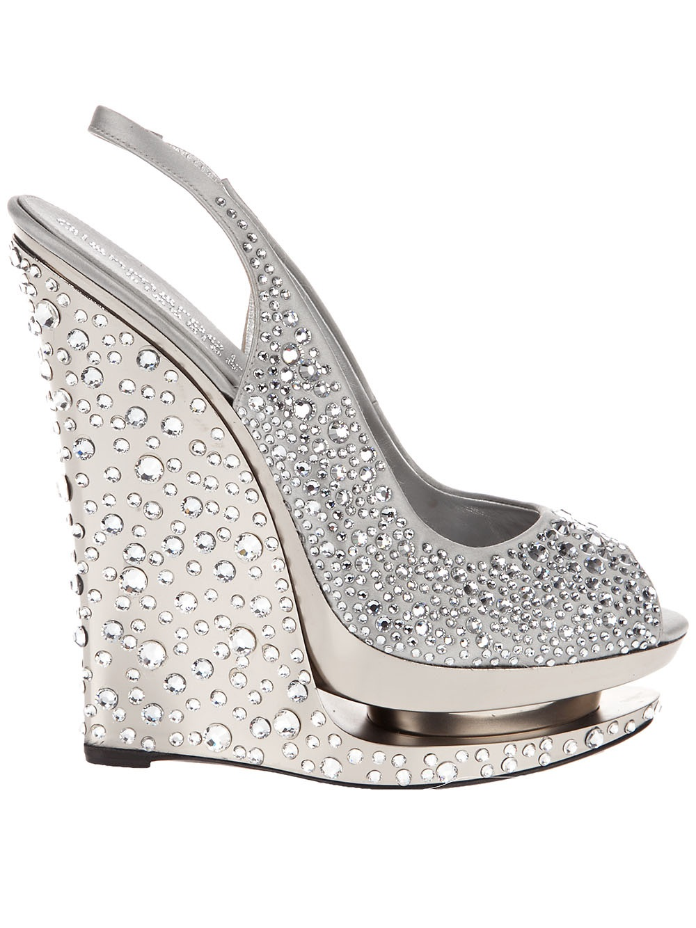 Lyst Gianmarco Lorenzi Crystal Wedge Shoe In Gray