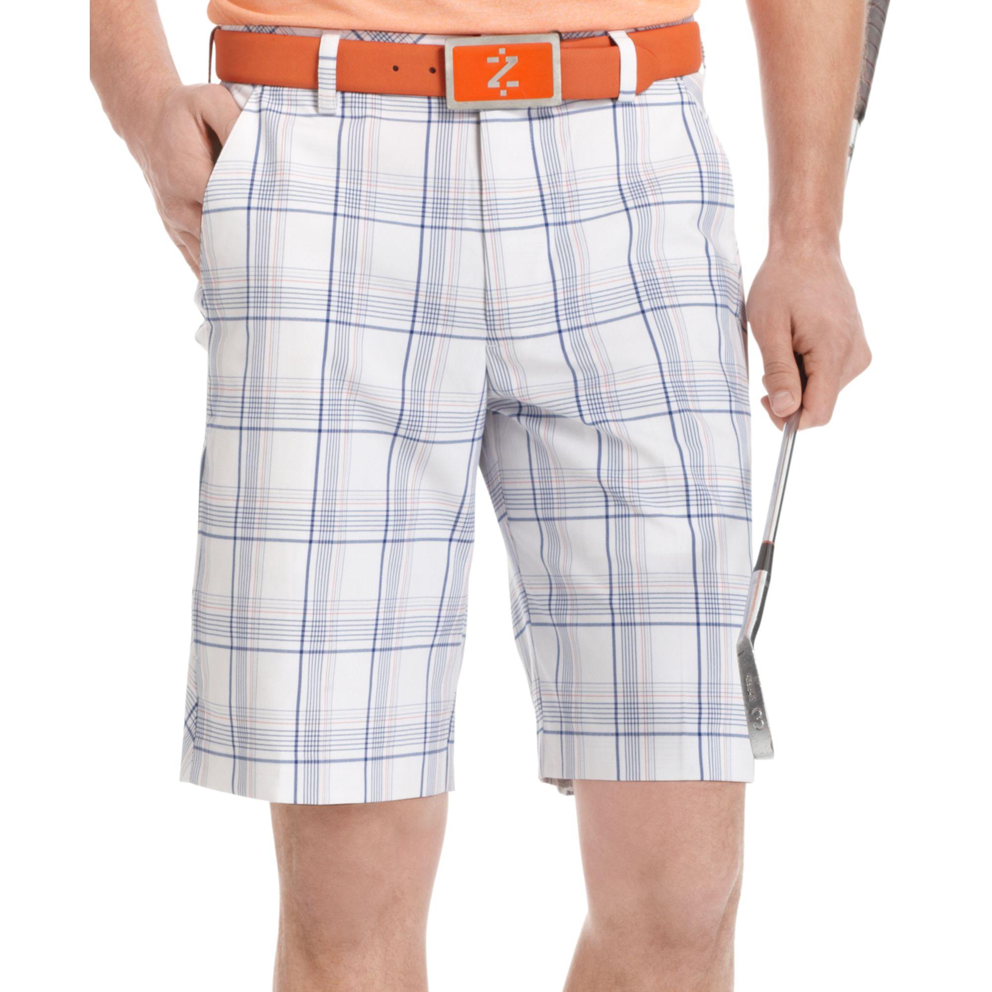 b1ed751abb Izod Flat Front Plaid Golf Shorts in Blue for Men - Lyst