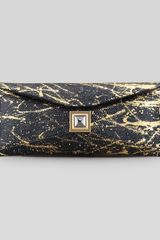 Kara Ross Prunella Stretch Lizard Clutch Bag Black gold - Lyst