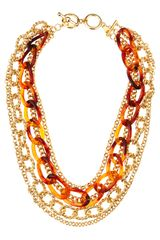 Kenneth Jay Lane Tortoise Gold Chain Link Necklace - Lyst