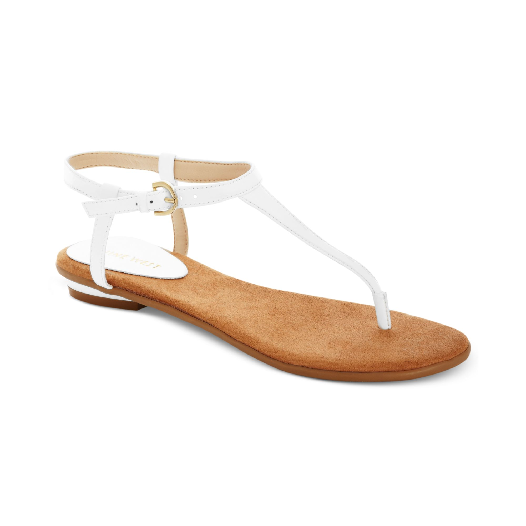 6b272da292be Lyst nine west izzelly flat thong sandals in white jpg 2000x2000 Nine west  flat sandals