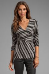 Plenty By Tracy Reese Novelty 2 Tone Twist Jersey Directional T in Gray - Lyst